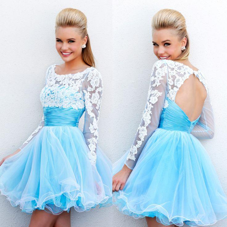 White and blue grad dresses short