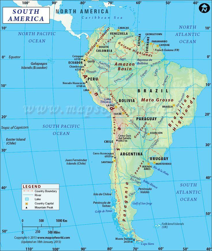 South America #Map #america #south   Südamerika