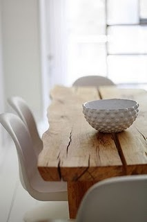 rustic table- love it with the contrast of modern