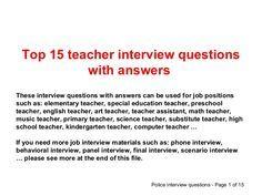 Best 20+ Teacher interview questions ideas on Pinterest