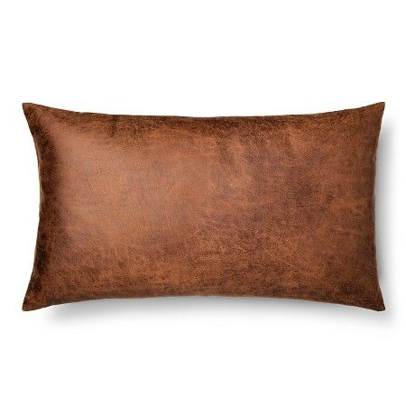 Throw Pillow Faux Leather Oversized Oblong Brown - Threshold™ : Target $17.49
