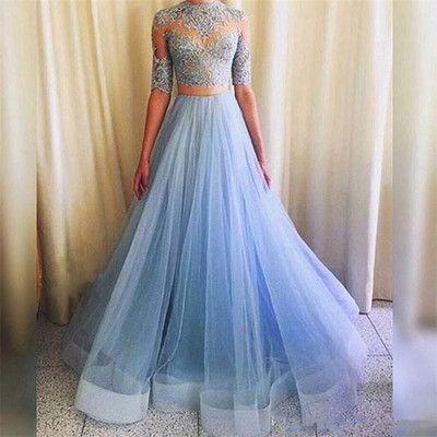 Pretty Prom Dress,Tulle Prom Dress,Appliques Prom Dress,Half-Sleeves Prom Dress P725
