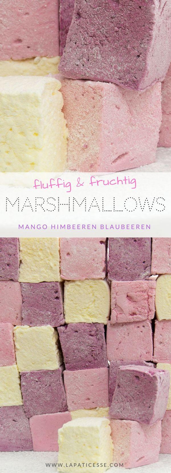 Rezept für super fruchtige Marshmallows * Einfach selbst machen * Mango Himbeeren Blaubeeren * Recette de Guimauves fruitées #Patisserie #Foodblogger #Marshmallows * Made by La Pâticesse