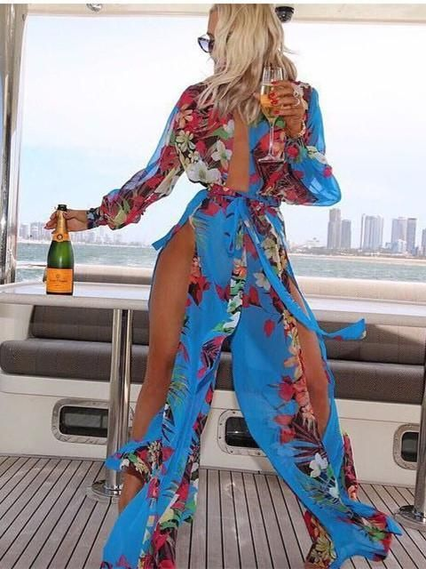 0cb27bfa68 Chiffon Floral-Print Long Sleeve Deep V Neck Side Split Maxi Dress ...
