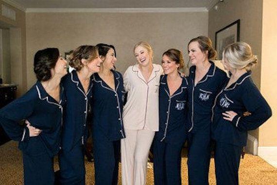 Bridesmaid PJ sets , Monogrammed pajamas , pajamas , pajama sets - Winter wedding gifts - Custom Colors and Personalization !