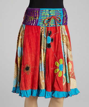Love this Orange & Turquoise Panel A-Line Skirt on #zulily! #zulilyfinds