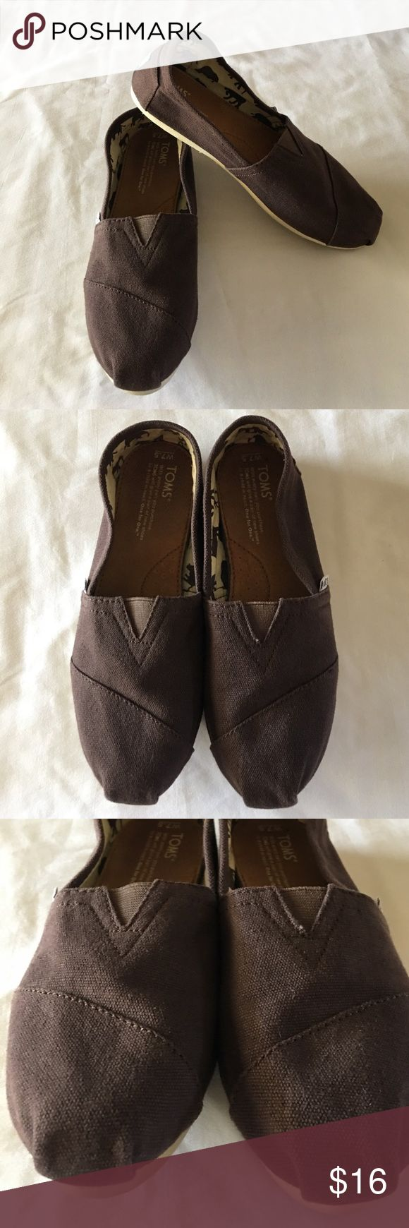 TOM's Canvas Shoes Brown TOM's, size 7.5 in women's. Some wear to the bottom, otherwise nice used condition. TOMS Shoes Flats & Loafers