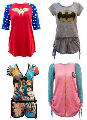 Pijamas Femininos - Mulher Maravilha, Batman e Robin