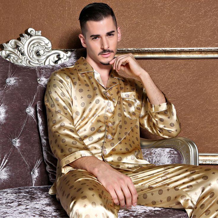 NWT 2PCS Mens Silk Satin Pajamas Sleepwear Pyjamas