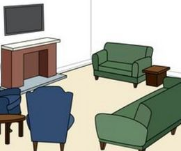 Furniture arrangement with fireplace