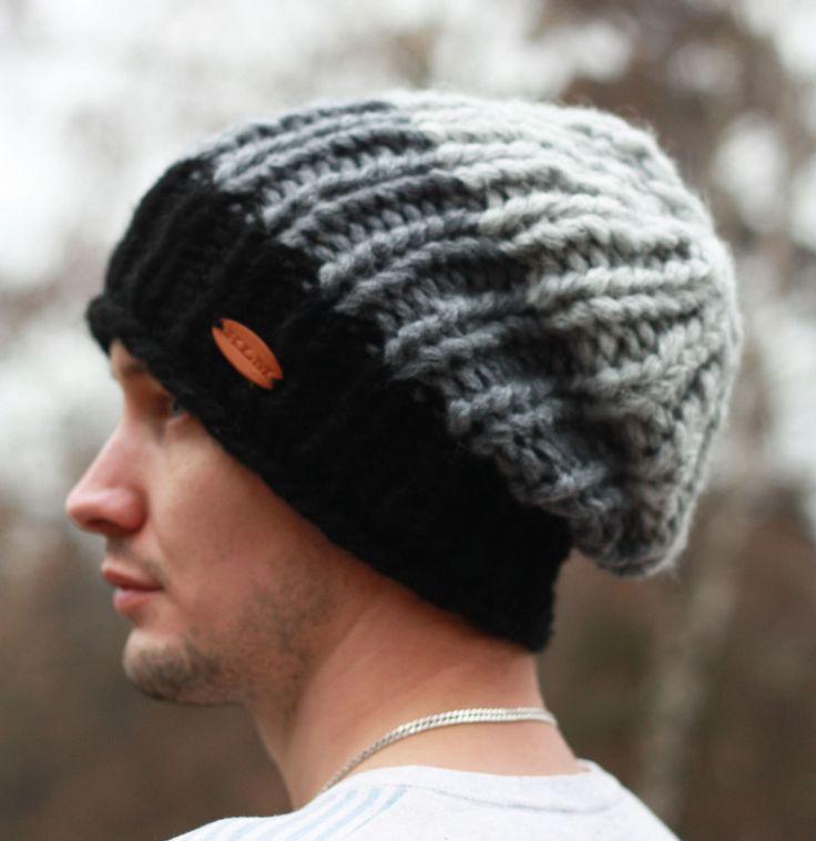 """Купить Вязаная мужская шапка-бини """"Буран"""" - темно-серый, черная шапка, вязаная шапка"""