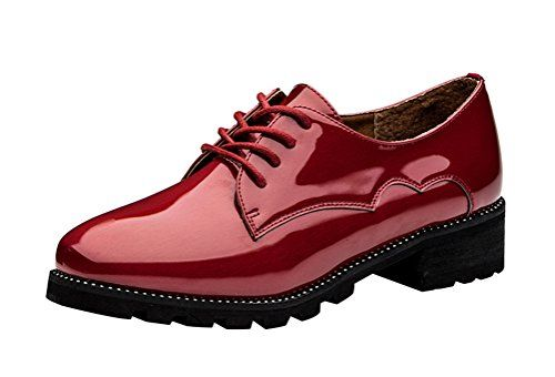 Womens Golf Shoes Fashion | Passionow Womens Fashion Laceup Low Top Low Chunky Heel Patent Leather Oxford Shoes 55 BMUSBlack * Check out the image by visiting the link. Note:It is Affiliate Link to Amazon.