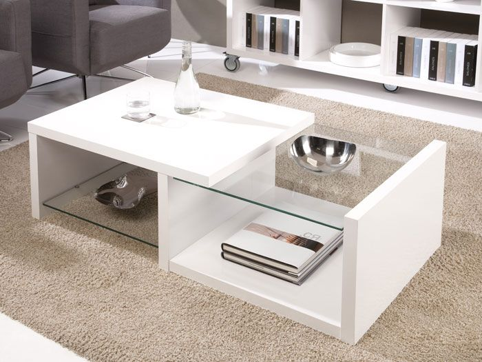 Mesa centro blanca cristal