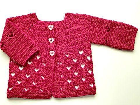 Saquito o chaqueta de bebe de 3 a 6 meses a CROCHET - La Magia del Crochet-PRIMERA PARTE - YouTube
