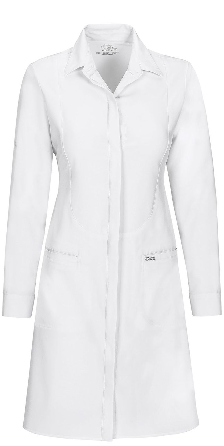 """This chic, tailored-fit lab coat features a revolutionary antimicrobial fabric technology that provides long-lasting freshness and reliable protection against unwanted bacteria. Infinity by Cherokee 40"""" Lab Coat from Cherokee Scrubs at Cherokee 4 Less"""