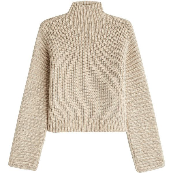 Rosetta Getty Turtleneck Pullover (58,920 DOP) ❤ liked on Polyvore featuring tops, sweaters, beige, cropped turtleneck sweater, turtleneck sweater, cropped pullover, sweater pullover and turtle neck crop top