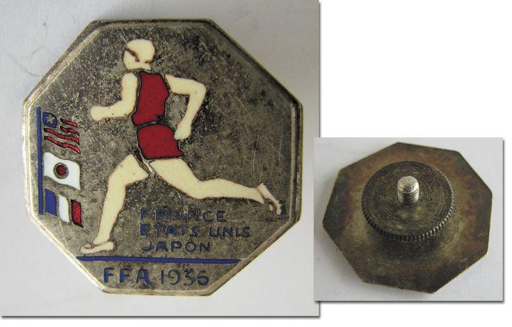 Athletics Meeting France USA Japan 1936 Participation Pin Olympic 1936 badge  | eBay