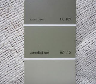 Benjamin Moore  Wethersfield Moss HC - 110  An olive green that isn't too grey or too green.  I love to use this on furniture too.