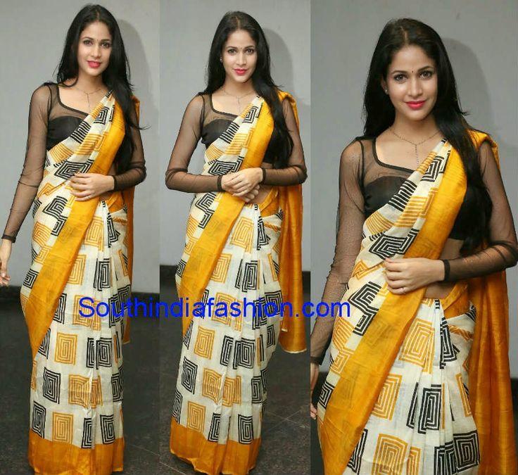 Lavanya Tripathi in Printed Saree ~ Celebrity Sarees, Designer Sarees, Bridal Sarees, Latest Blouse Designs 2014