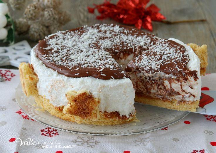 CHEESECAKE DI PANDORO COCCO E NUTELLA ricetta dolce di Natale senza cottura, facile, golosa, economica, ricetta veloce e buonissima