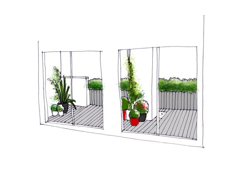 Vista desde el interior de dise o de jardin para terraza - Diseno de jardines ...