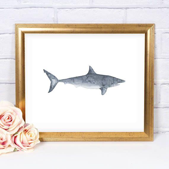 Shark Watercolor 8x10 Printable Wall Art, Under The Sea, Instant Download, Ocean Print, Nautical Nursery, Ocean Nursery, Ocean Kids Room