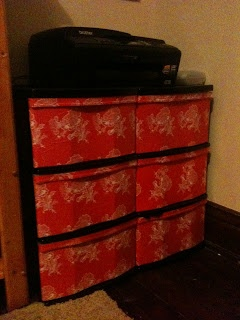 DIY Wrapping Paper Mod Podge Plastic Drawers. I have a couple plastic dresser drawers I could do this too :):) YaY for crafts!!