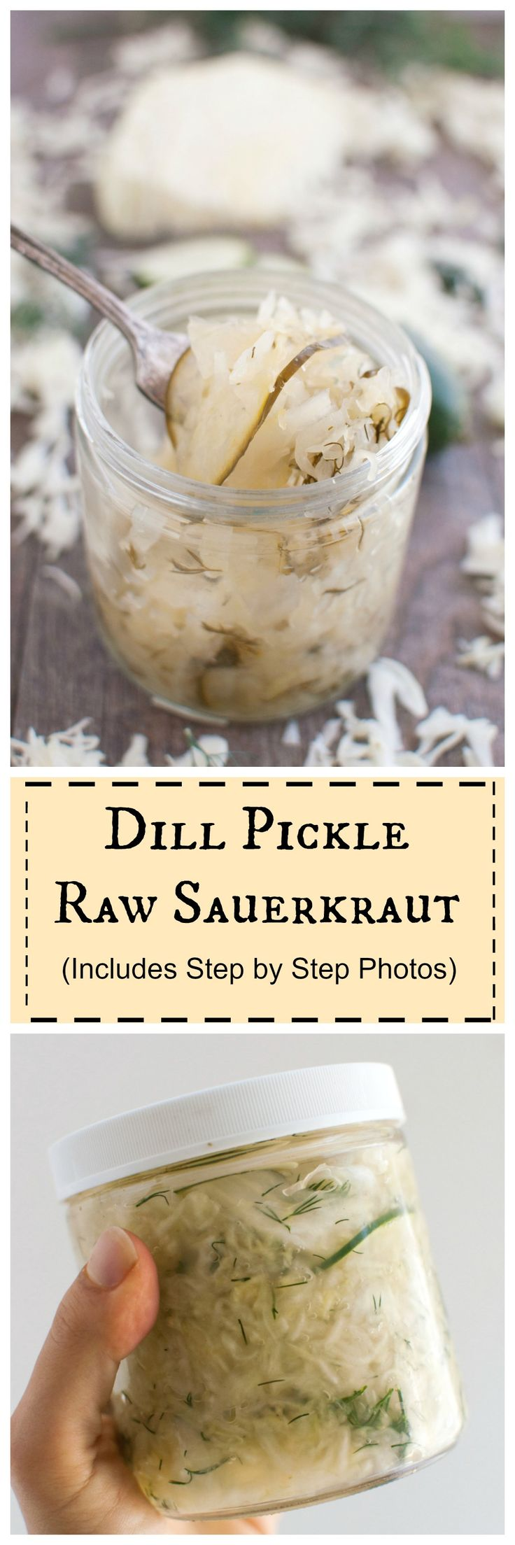 Dill Pickle Raw Sauerkraut- improve your gut heal #probiotic #vegan #paleo…