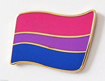 Bisexual Bi-Pride Rainbow LGBT Wavy Flag (Real Gold Plated) Pin Badge