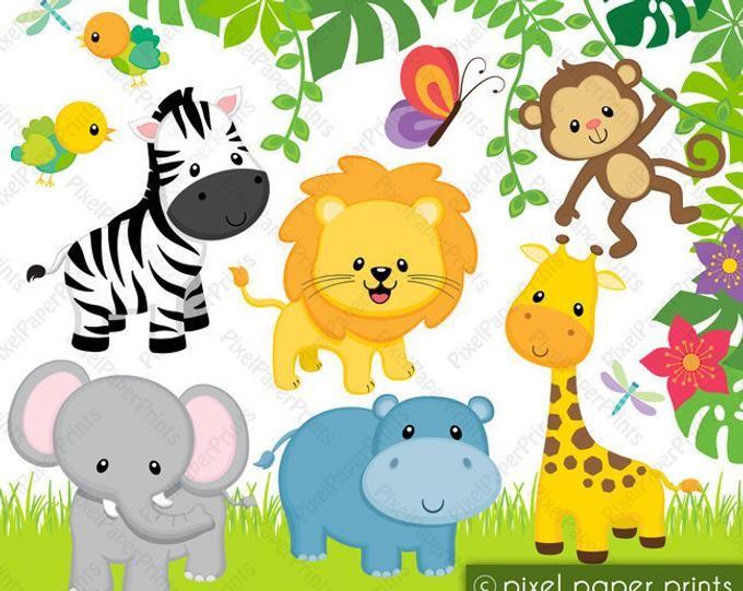 Animals Clip Art Wild Animal Faces Clipart Set Digital Download Digital Stamps Clip Art Jungle Clipart