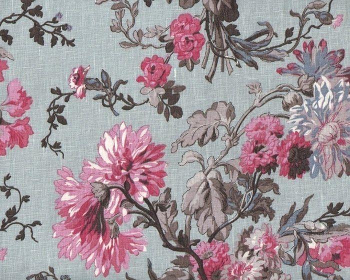 Leinen-Dekostoff YESMINE, Blumensträuße, helles taubenblau-pink