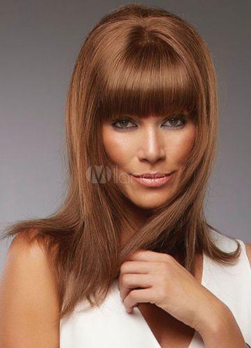 100 Real hair! New Sexy Women s Medium Long Brown Straight Human Hair Full  Wigs Women apos Medium 36a1001a8