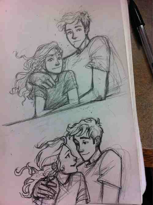 Percy Jackson art by Burdge. DAMN. They are just so cute together!