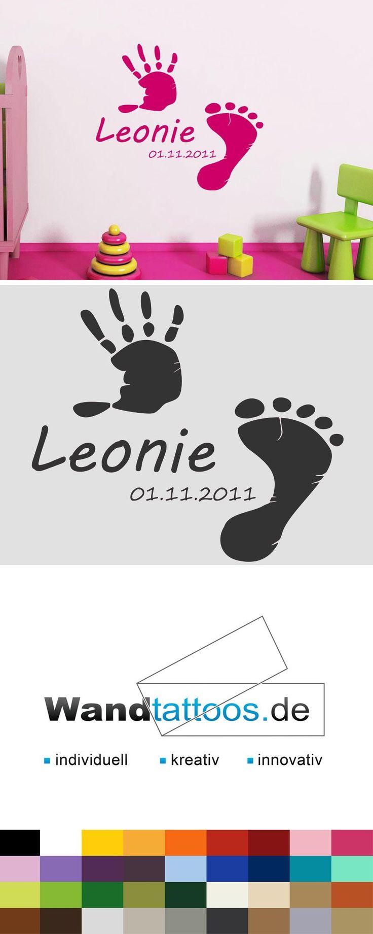 Wandtattoo Baby Hand- und Fußabdruck mit Wunschname als Idee zur individuellen Wandgestaltung. Einfach Lieblingsfarbe und Größe auswählen. Weitere kreative Anregungen von Wandtattoos.de hier entdecken!