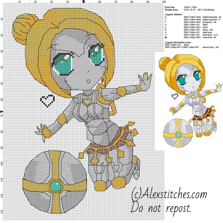 Chibi robot Orianna League of Legends free videogames cross stitch pattern 100x135 10 colors