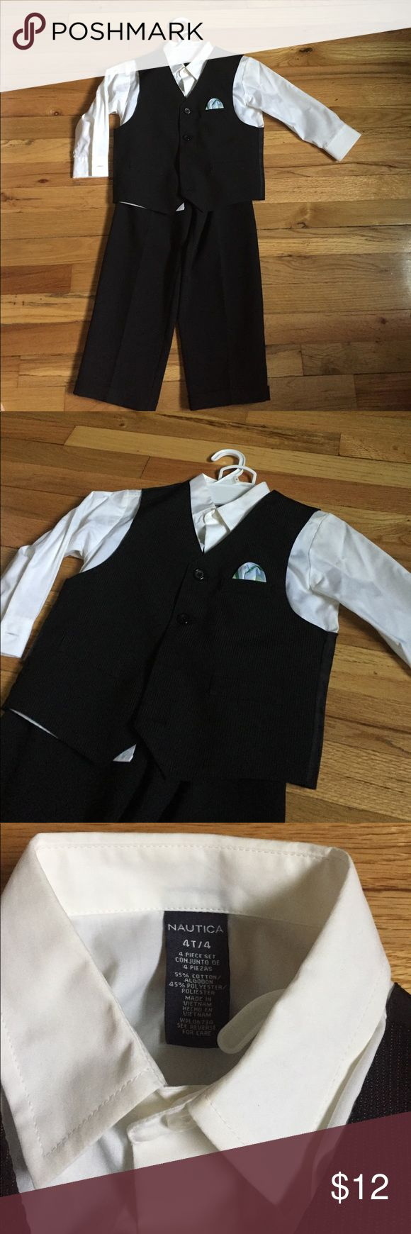 Nautica Boys 3pc dress pants, shirt and vest (4) Your little man will be the definition of dapper in this handsome set that's perfect for any special occasion. includes shirt, vest, tie and pants shirt: white point collar, long sleeves, button front vest: button front (black pinstripe) with blue/white pocket square  pants: polyester (black pinstripe) washable Nautica Matching Sets