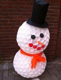 Plastic sneeuwpop ~ www.knutselboom.nl