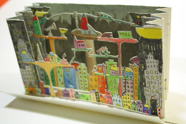 City tunnel book 3d carton illustrated city, amazing!