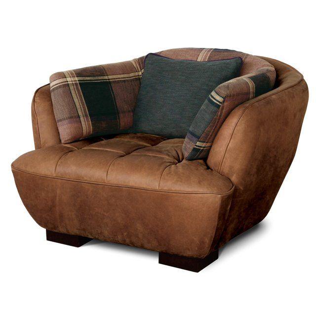 Single Leather Sofa with Fabric Cushion