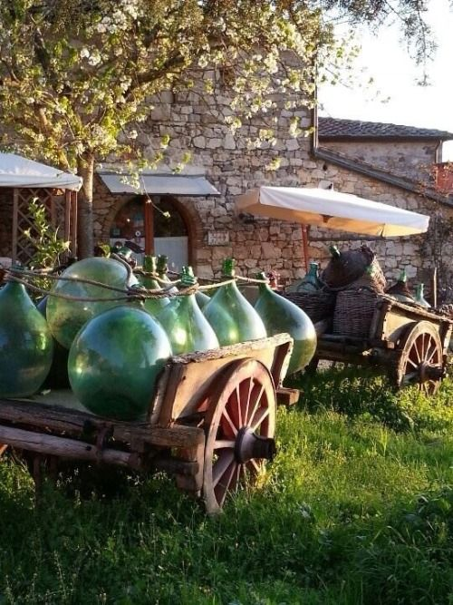 Wine containers in Tuscany, Italy