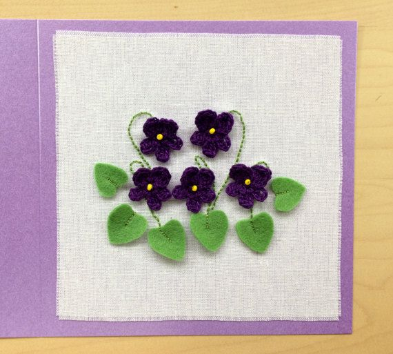 February birthday card, fabric birthday card, flower of the month card, violets card