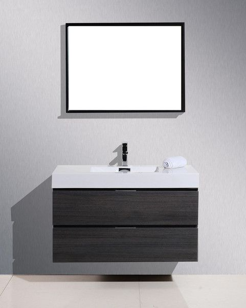 Bliss 40 High Gloss Grey Oak Wall Mount Modern Bathroom Vanity The Vanity Store Canada 40