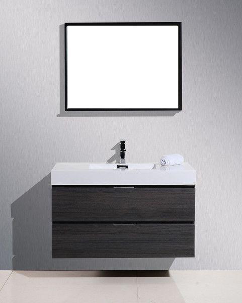 "Bliss 40"" High Gloss Grey Oak Wall Mount Modern Bathroom Vanity"