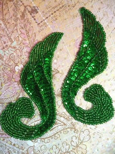 "0123  Kelly Green Mirror Pair Beaded Sequin Appliques 4.25""   Sewing Craft Motif 0123X-gr. $4.99, via Etsy."