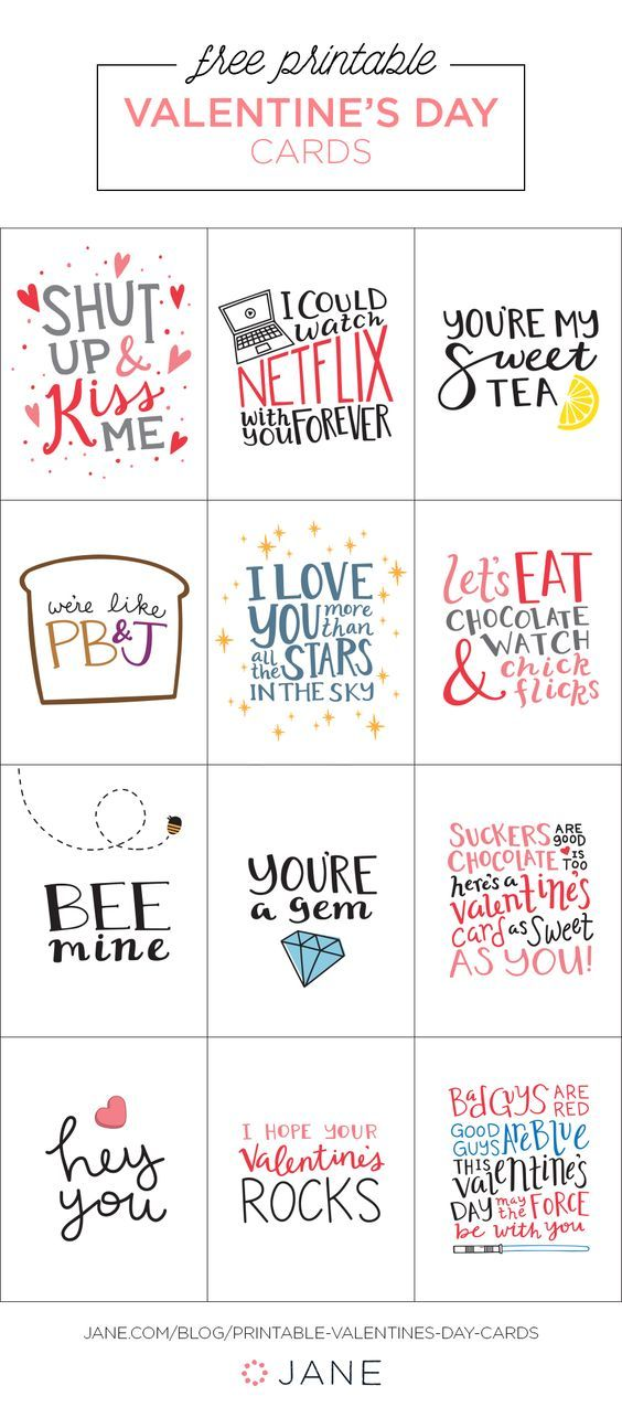 Free Fun Printable Valentines Day Cards from JANE