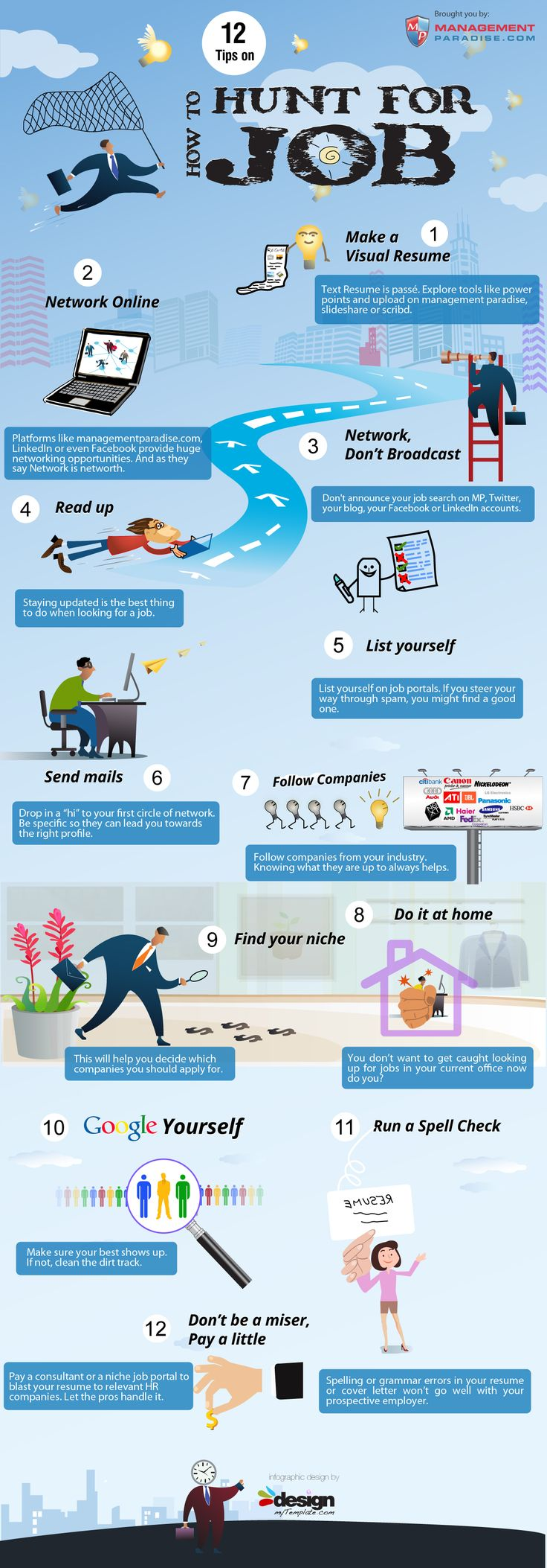 12 tips on #job hunting in a nice visual style (probably to help encourage the first point!)