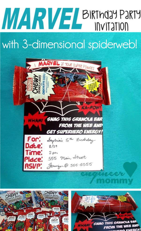 MARVEL Birthday Party Invitation w/ 3D Spiderweb!! An easy craft tutorial for your next superhero party! #ad #MARVELSnackBar