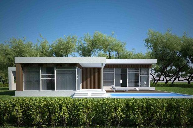 Plano de casa moderna con 3 dormitorios y piscina for Planos de casas con piscina