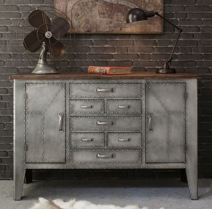 Rivet Industrial Metal Sideboard Dining RoomsIndustrial