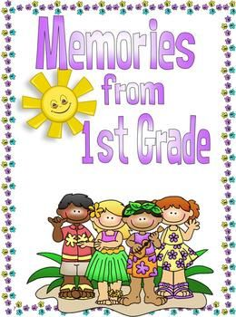 End of the Year Memory Book for First Grade.  Give your first graders a fun way to remember their school year with this memory book.     There are 3 different versions of the memory book included in this pack.  *Aloha  *Pirate  *Black and White (to save ink!)    Download the preview to see everything that you will get. Have a wonderful end to your school year . . . or beginning! :)